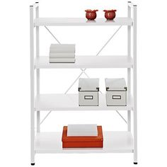 A clean white finish and open metal frame displays your items with modern durability.