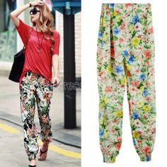 Summer Baggy Pant Flower Printing Loose Pant Trouser 2 Colors