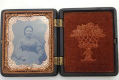 Antique Victorian Union Case 4 Acorns w Ambrotype Photo Woman Tinted Cheeks Blk | eBay