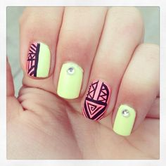 This is such a cute and eye catching design for summer change up the colors, the fingers each design goes on, or even change one of the designs to something other than a half tribal half solid...