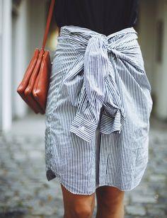 Les Brèves - Tendances de Mode | Quand la chemise rayée se mue en jupe...