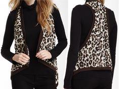Karen Kane Brown Cheetah Print Knit Drape Vest - MSRP $109 | eBay