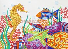 Sea Creatures Seahorse Fish Seastar ORIGINAL Nautical Painting Custom Illustration Ocean Illustration Mixed Media Nursery room SALE. $75.00, via Etsy.