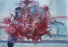 La caduta - acrilico su tela - cm.100 x 70 - 2012