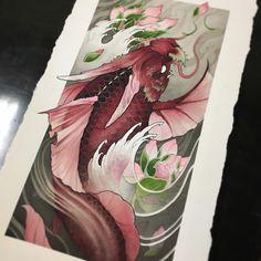 Finished up this Dragon Koi today. Dragon Koi Fish, Koi Dragon Tattoo, Koi Fish Tattoo, Japan Tattoo Design, Japanese Tattoo Designs, Japanese Painting, Japanese Art, Koi Tattoo Sleeve, Koi Art