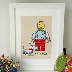 'Walkies' Handmade Building Block Character with Dog Embroidery by Lillyblossom Personalised Gifts Handmade, Fabric Cards, Original Gifts, Natural Linen, Gifts For Kids, Machine Embroidery, Sewing Projects, Shapes, Stitch