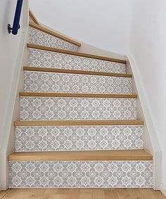 Update your stairs with inspired peel and stick stripe by choosing this reasonable Scandia Stair Stripe Decal from WallPOPs. Tile Stairs, Basement Stairs, Tiled Staircase, Staircase Storage, Basement Office, Attic Stairs, House Stairs, Basement Ideas, Ideas