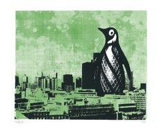 London Penguin - Green screen print on Folksy