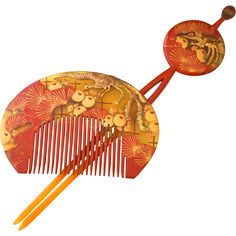 Japanese Set of Celluloid Gold and Red Kanzashi and Kushi Comb @Rapunzel's