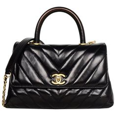 2e14e5d834c2 Chanel Black Shiny Calfskin Leather Chevron Quilted Mini Coco Handle Flap  Bag