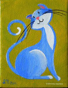 "Original Fantasy Cat Acrylic Paintings for Sale ""Little Cats"" Cat Doodle, Doodle Art, Black Cat Art, Cat Quilt, Rock Painting Designs, Happy Paintings, Cat Colors, Cat Drawing, Art Drawings Sketches"