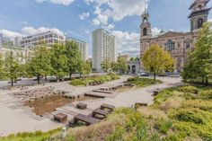 The little known hidden gem of Grzybowski Square, Warsaw Park Landscape, Urban Landscape, Landscape Architecture, Landscape Designs, Rain Garden, Water Garden, Parvis, Eco City, Urban Nature
