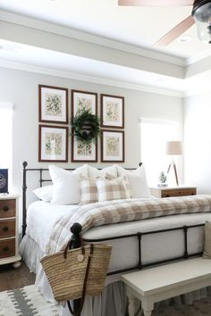 Neutral Christmas Bedroom Tour with Mohawk Home - TxSizedHome - cottage bedroom Farmhouse Bedroom Furniture, Home Decor Bedroom, Bedroom Table, Bed Room, Country Furniture, Traditional Bedroom Decor, Traditional House, Modern Traditional, Contemporary Bedroom