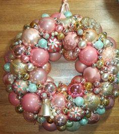 "Vintage Handmade Christmas Ornament Wreath Pink 17 5"" Glass Holiday Decor Gold | eBay"