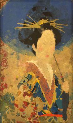 Untitled (Geisha) | Mark English | mixed media on panel | 41x24.5
