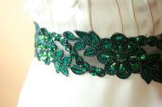 Emerald Green Lace Bridal Sash with Beads by TheVelveteenSash