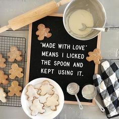 """Made with love"" means I licked the spoon and kept using it. (Funny quotes, baking, ful candles, letterfolk, letterboard,)"