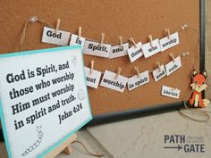 Clothespin Verse Activity - Path Through the Narrow Gate Kids Church Lessons, Youth Lessons, Bible Lessons For Kids, Bible For Kids, Scripture Memorization, Bible Verses, Lds Seminary, Starting Kindergarten, Memory Games For Kids
