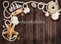 Few marine items on a wooden background. #marine #ship