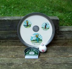 Vintage Golf Lot~DecorativeTray/Putts & Butts Ashtray/Golf Ball Scotch Whiskey