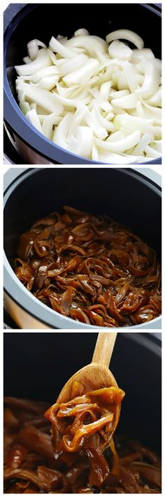 All you need are 2 ingredients to make delicious caramelized onions in the slow cooker!   gimmesomeoven.com