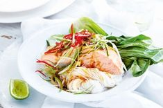 Oven-steamed Soy Salmon ~ Steaming the salmon locks in the moisture and infuses it with beautiful Asian flavour.