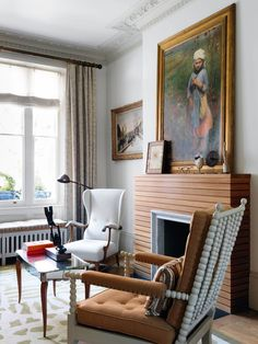 The horizontal wooden slats in Hugh's chimneypiece design give the sitting room a Fifties feel. The original floorboards throughout were sanded and reconditioned. Window Seat Storage, Window Seat Cushions, Window Seats, Inspiration Room, Home Interior, Interior Design, Painted Wood Walls, Shade House, Interior Minimalista