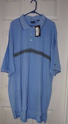 Men's 3X BIG & TALL IZOD LONG KNIT POLO POWDER BLUE With stripe across chest NEW #IZOD #PoloRugby