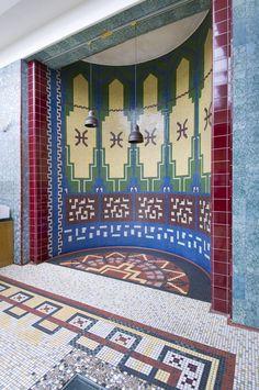Amalienbad lobby detail Art Deco Fashion, Vienna, Art Nouveau, Frame, Red, Detail, Home Decor, History, Picture Frame