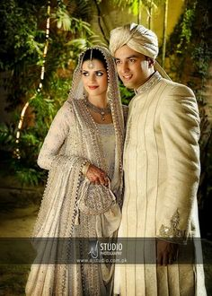 Cream Anarkali with heavy work: Perfect for nikah or engagement