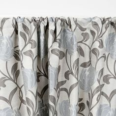 """Fiori Floral Lined Seaglass 3"""" Rod Pocket Curtain Panel"""