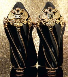 Chanel: black and gold shoes...oh, my..sooo how much are these?!