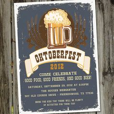 Oktoberfest Bier Beer Party Printable Invitation by partymonkey. Explore more products on http://partymonkey.etsy.com