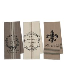 Look what I found on #zulily! French Grain Sack Printed Dishtowel - Set of Three #zulilyfinds