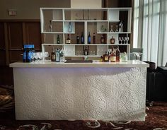 Our pretty White Damask Bar White Damask, Corporate Events, Event Decor, Event Design, Plank, Liquor Cabinet, Bar, Luxury, Storage