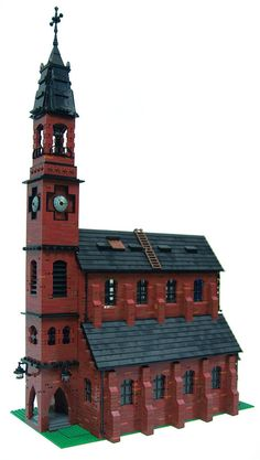Neo Gothic Church - especially love the way the clock is built into the tower and the little ladders on the roof Lego City, Casa Medieval Minecraft, Lego Architecture, Japanese Architecture, Landscape Architecture, Box Container, Lego Trains, Lego Modular, Lego Castle