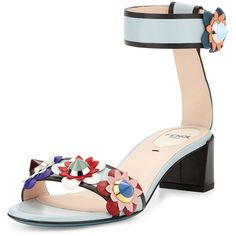 Fendi Flowerland Leather Ankle-Wrap Sandal (63,335 INR) ❤ liked on Polyvore featuring shoes, sandals, heels, new gray, ankle strap heel sandals, wide sandals, leather sandals, strappy heeled sandals and block heel sandals