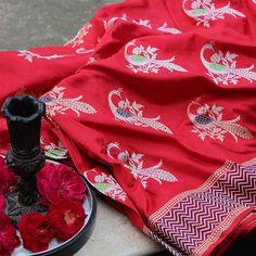 Red Pure Katan Silk Banarasi Handloom Saree