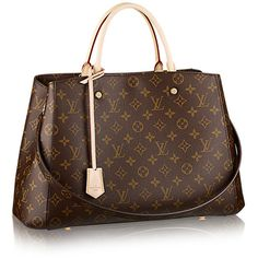 Montaigne GM Monogram Canvas (€2.365) ❤ liked on Polyvore featuring bags, canvas bag, monogram canvas bag, monogrammed bags, brown bag and brown canvas bag