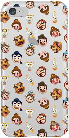 Beauty and the Beast Character Emoji Pattern design on iPhone 7 Clearly Case From Uncommon | Coveroo