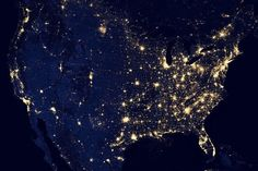 A view of United States Of America from space at night