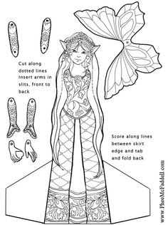 Heart Fairy Puppet to Color, Cut Out, & Assemble Printable Coloring Pages, Colouring Pages, Adult Coloring Pages, Coloring Sheets, Coloring Books, Paper Puppets, Paper Toys, Diy Paper, Paper Art