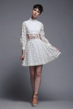 8d2008ebc27 gogo midriff dress daisy chain lace white twiggy long sleeves mod vintage  60s XXS XS Extra