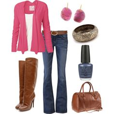 fuschia sweater. brown leather boots, bootcut jeans.