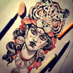 New school sketch Head Tattoos, Arm Tattoo, Sleeve Tattoos, Cool Tattoos, Tattoo Flash, Tatoos, Tattoo Sketches, Tattoo Drawings, Tiger Sketch