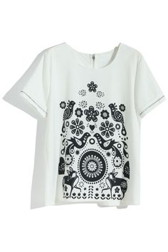 #Romwe  White Symmetric Bird And Floral T-shirt