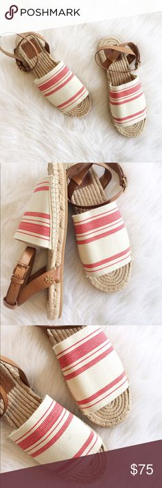 Tory Burch Awning Striped espadrilles sandals In excellent used condition. Very small stain on top, as shown. Minimal wear on soles, only wore a few times. Perfect flats for running errands! Rubber sole and canvas type upper. Tory Burch Shoes Flats & Loafers