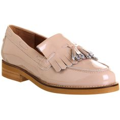 Office Extravaganza Loafers ($99) ❤ liked on Polyvore featuring shoes, loafers, flats, nude patent leather, women, loafers & moccasins, nude shoes, office shoes, color block shoes and colorblock shoes