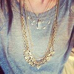 Layered Quartz Gold Chain Necklace | Aria Pendant Necklace | Stella & Dot - looks