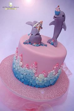 """Cute Dolphin Birthday Cake by """"All The King's Horses Cake Creations"""" Dolphin Birthday Cakes, Dolphin Birthday Parties, Dolphin Cakes, Dolphin Party, Pink Dolphin, 4th Birthday, Ocean Cakes, Beach Cakes, Cupcakes"""
